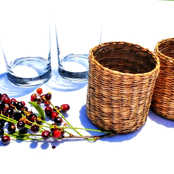 A Pair of Retro Tall Drinking Glasses - Wicker